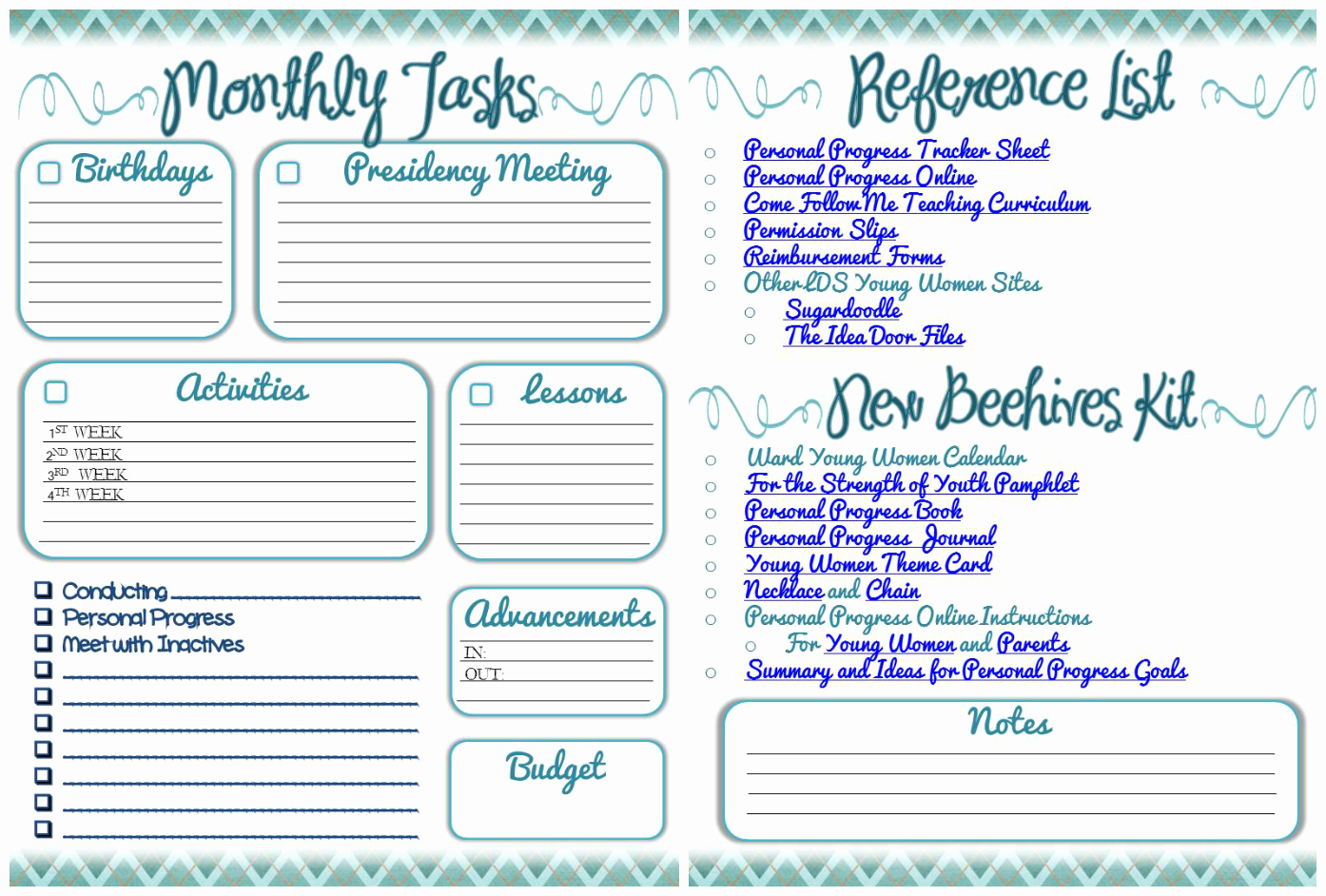 Permission Slips Lds Lovely Digital Scrapbooking Made Easy 2014 Yw Presidency Planner