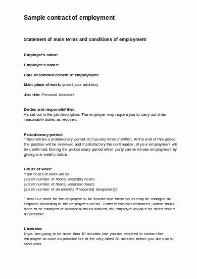Personal assistant Agreement Beautiful 9 Employee Contract Samples Pdf Word
