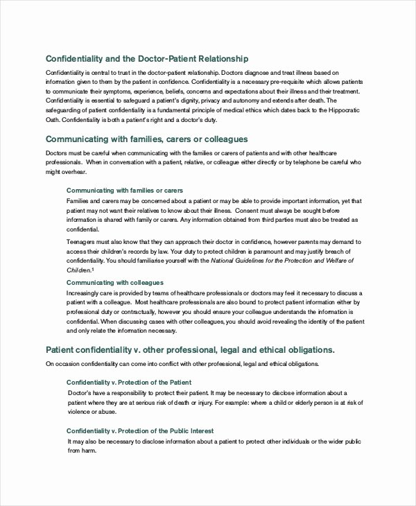 Personal assistant Agreement Elegant Personal Confidentiality Agreement – 7 Free Word Pdf