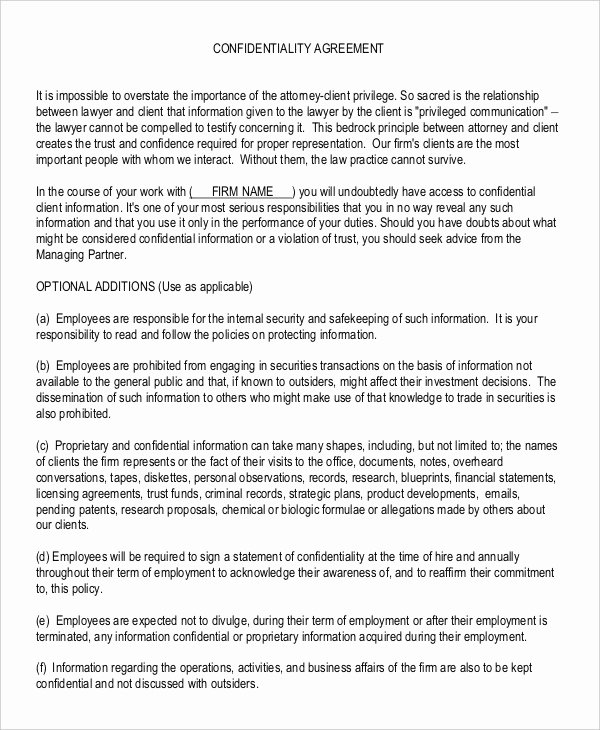 Personal assistant Agreement Fresh Confidentiality Agreement form 10 Free Word Pdf