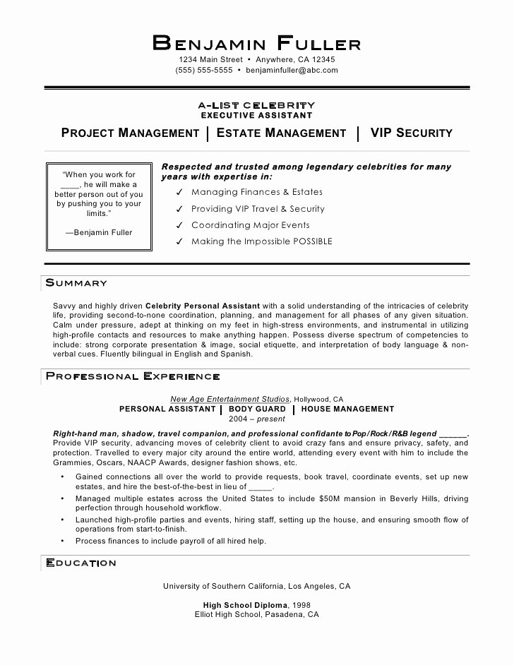 Personal assistant Agreement Inspirational Celebrity Personal assistant Resume by Mia C Coleman