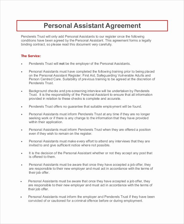 Personal assistant Agreement Luxury 9 Sample Personal Confidentiality Agreements