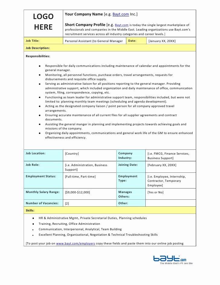 Personal assistant Agreement Unique Personal assistant Job Description Template by Bayt