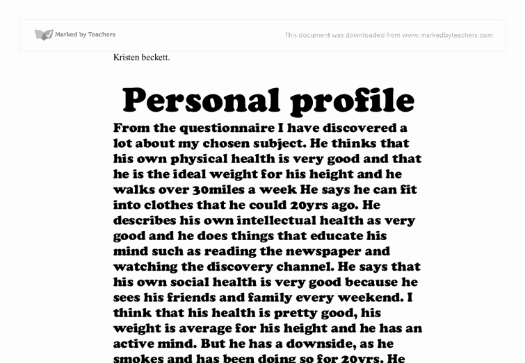 Personal Background Essay Examples Awesome Personal Profile A Level Healthcare Marked by