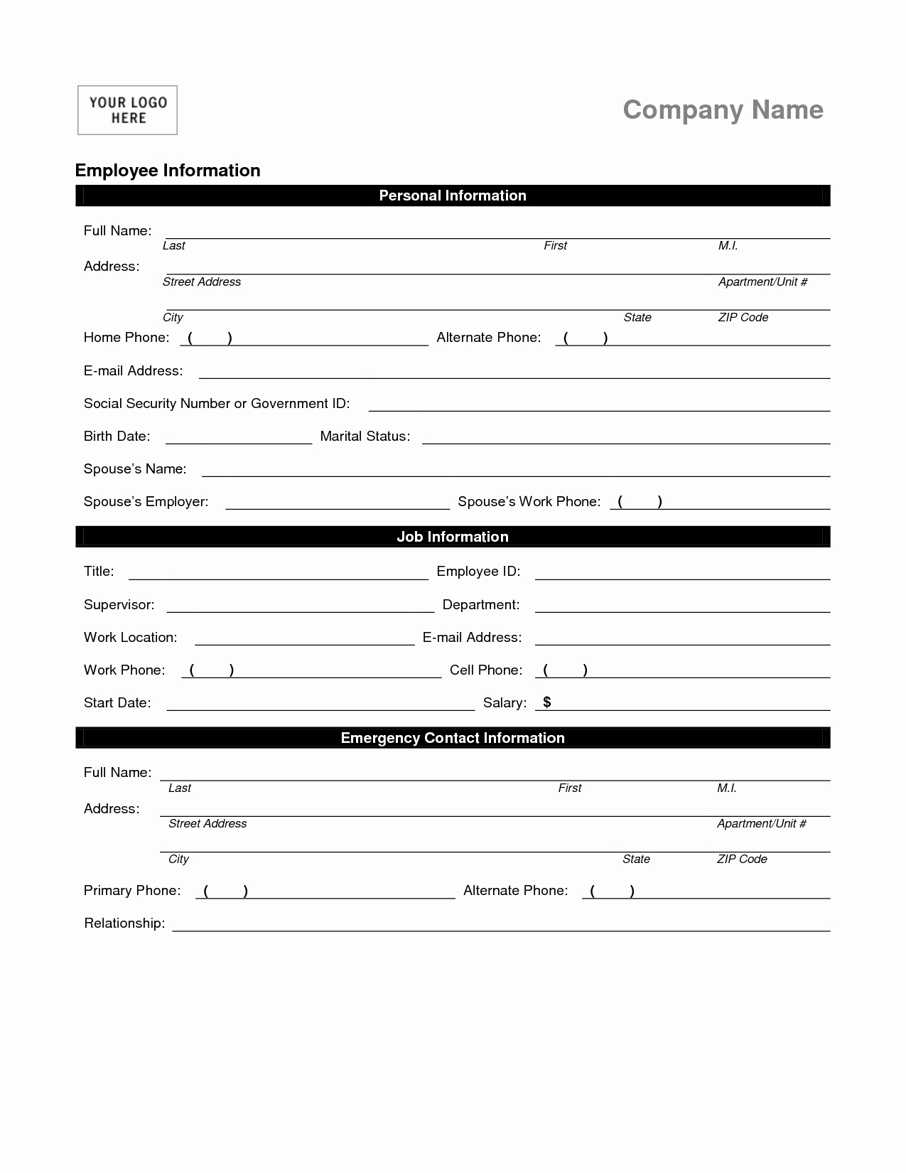 Personal Information Template Excel Best Of Employee Personal Information form Template