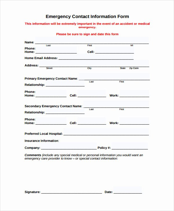 Personal Information Template Excel Fresh 24 Of Emergency Contact form Template