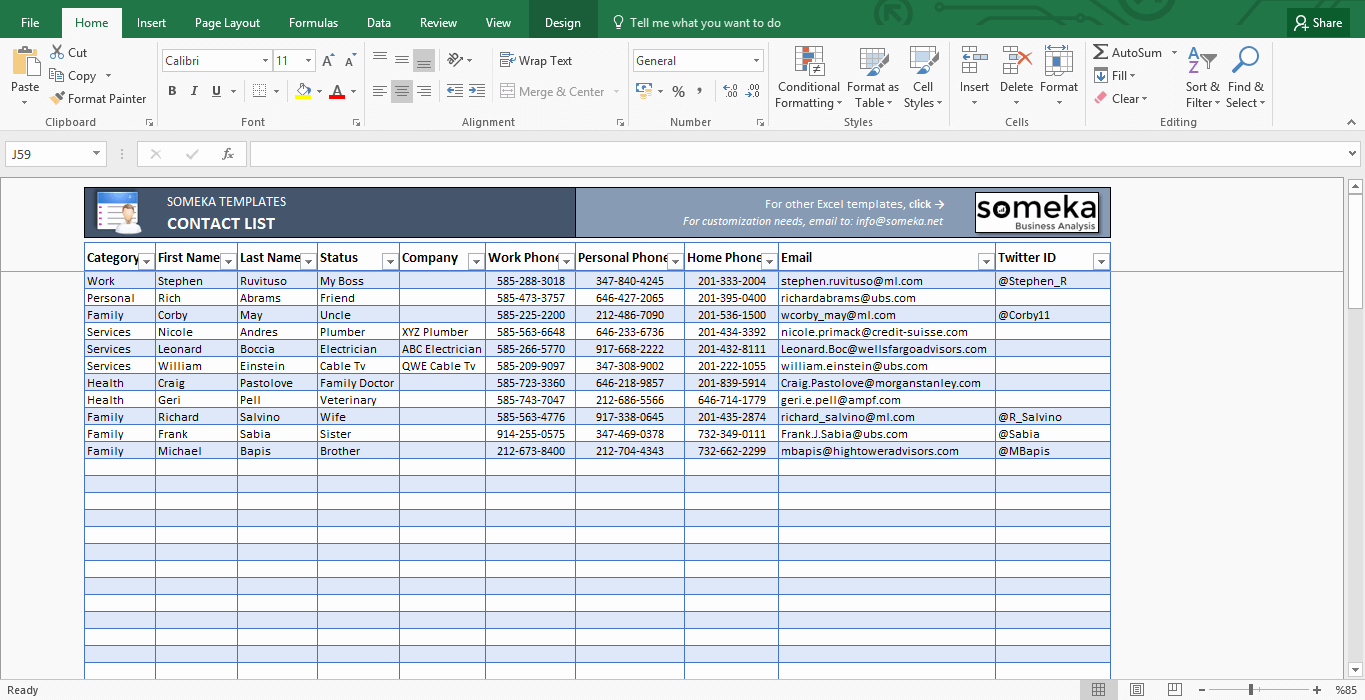 Personal Information Template Excel Fresh Contact List Excel Template This is A Very Simple One