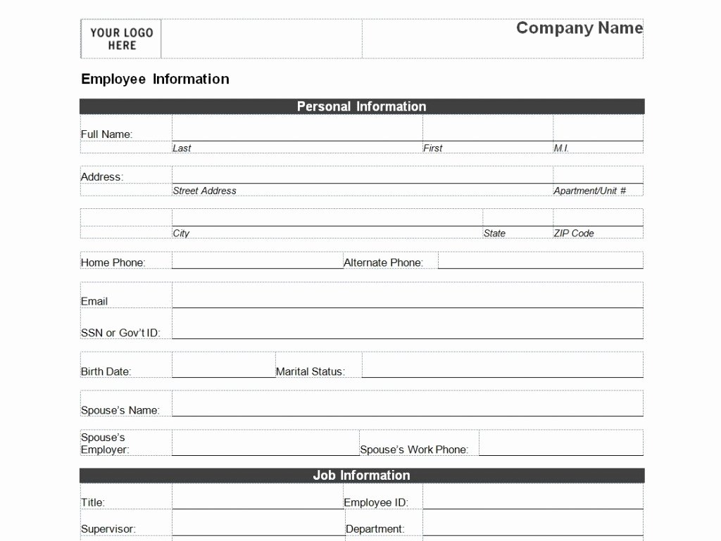 Personal Information Template Excel Luxury Employee Personal Information form Template