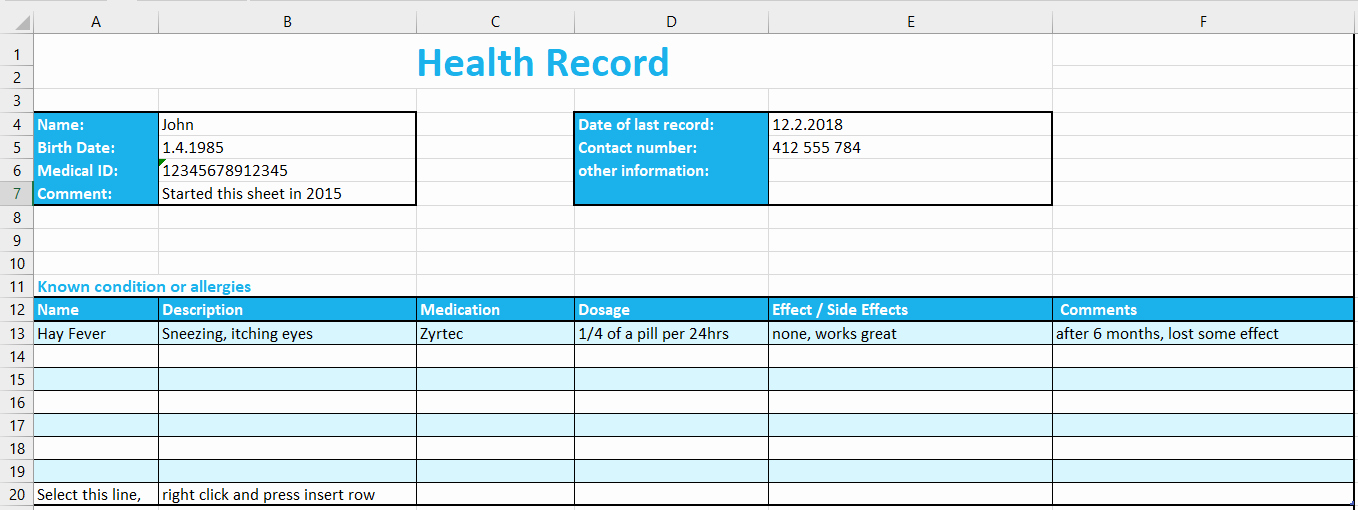 Personal Information Template Excel Unique Excel Health Record Tracking Log Template by Excelmadeeasy