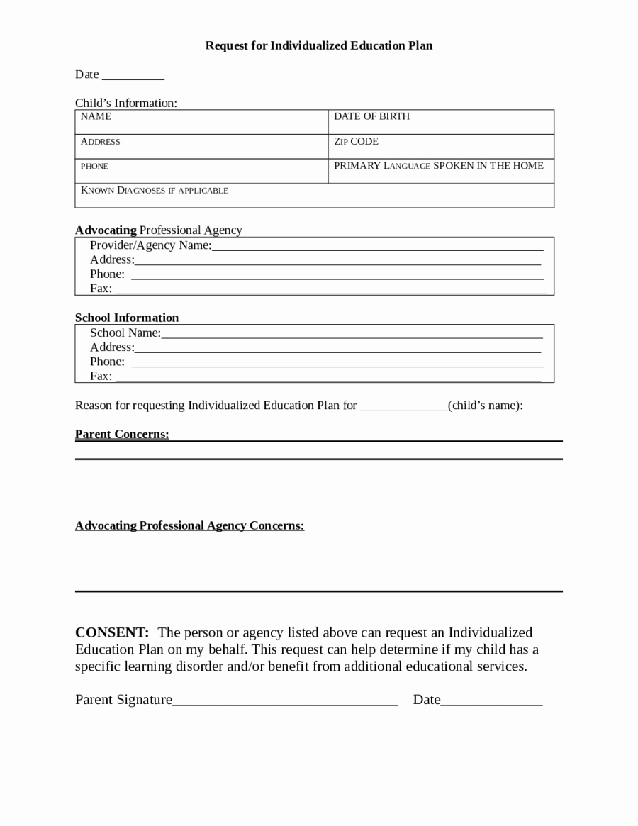 Personal Learning Plan Example Unique 2019 Individual Education Plan Fillable Printable Pdf