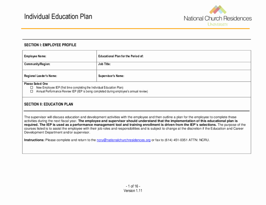 Personal Learning Plan Template Beautiful 2019 Individual Education Plan Fillable Printable Pdf
