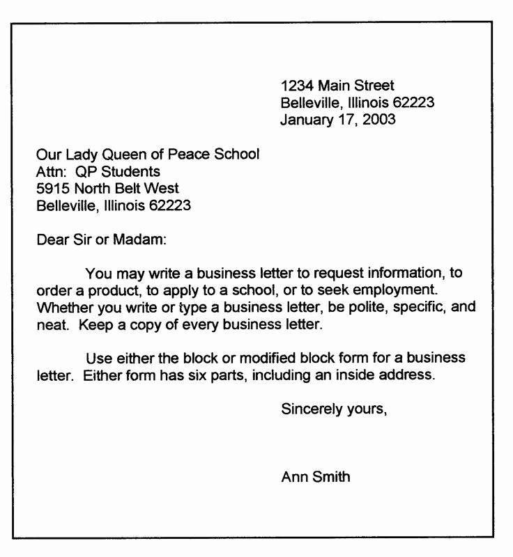 Personal Letter format Template Best Of Personal Business Letter format