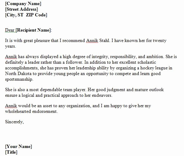 Personal Letter format Template Elegant 40 Awesome Personal Character Reference Letter