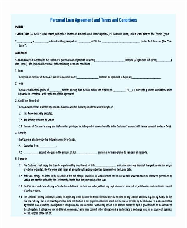 Personal Loan Agreement Template Beautiful 7 Personal Loan Agreement form Samples Free Sample