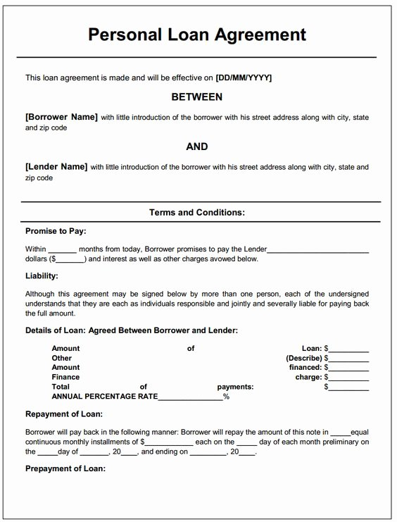 Personal Loan Agreement Template Best Of Personal Loan Contract Template