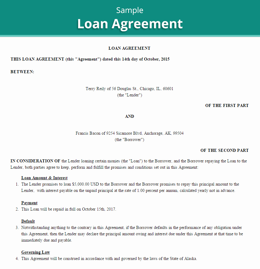 Personal Loan Agreement Template Inspirational 20 Loan Agreement Templates Word Excel Pdf formats