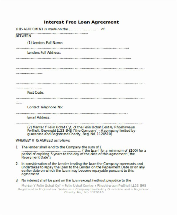 Personal Loan Agreement Template Lovely Loan Agreement form Template