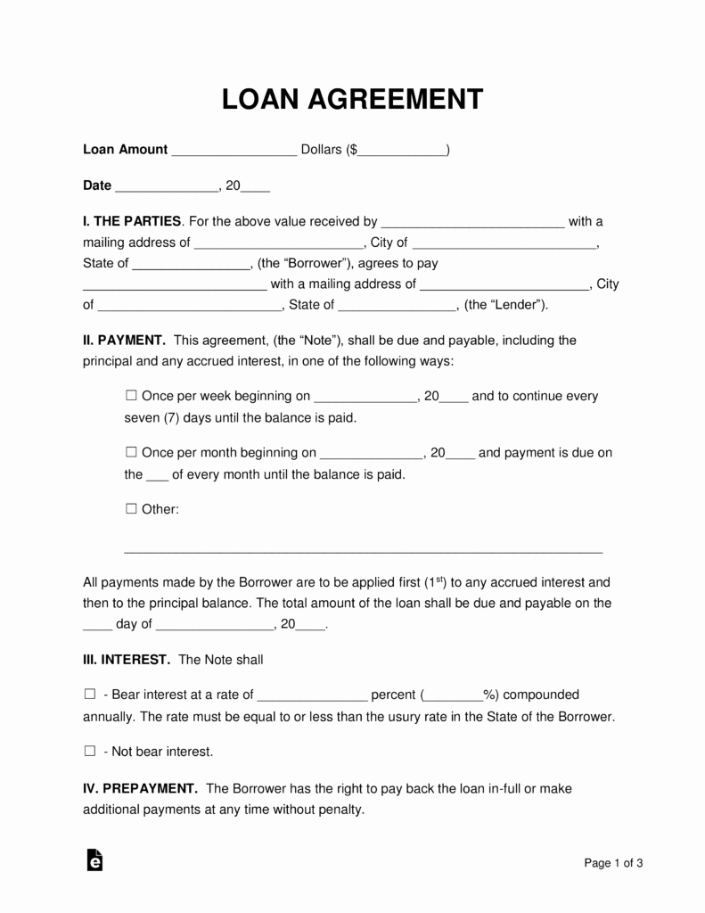 Personal Loan Agreement Template New Free Loan Agreement Templates Pdf Word