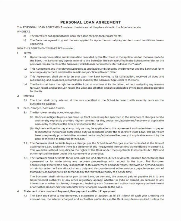 Personal Loan Agreement Template Unique Loan Agreement form Example 65 Free Documents In Word Pdf