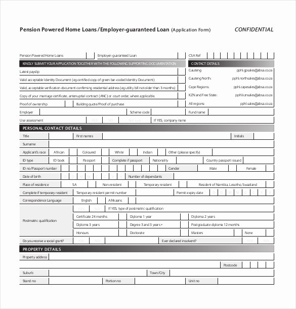 Personal Loan Application form Template Fresh 10 Loan Application Templates Pdf Doc