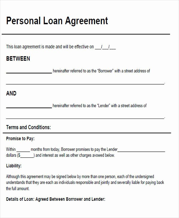 Personal Loan form Template Beautiful 46 Agreement form Sample