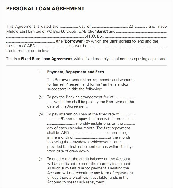 Personal Loan form Template Beautiful Loan Agreement 14 Download Documents In Pdf Word