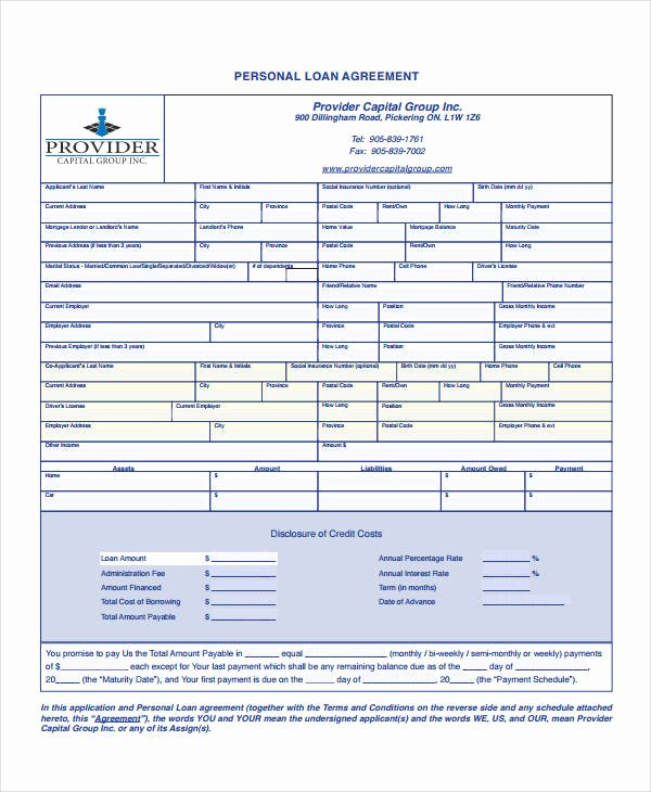 Personal Loan form Template Inspirational 16 Personal Loan Agreement Templates Free Pdf Word Samples