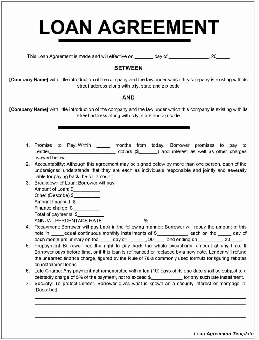 Personal Loan form Template Luxury 40 Free Loan Agreement Templates [word & Pdf] Template Lab