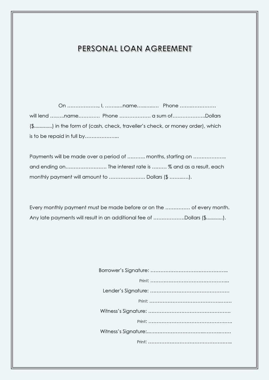 Personal Loan forms Template Beautiful 40 Free Loan Agreement Templates [word & Pdf] Template Lab