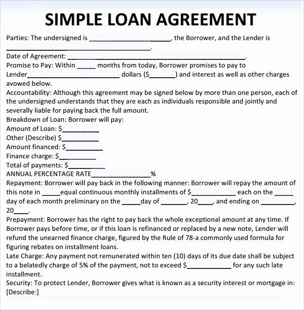 Personal Loan forms Template Best Of Sample Loan Agreement 10 Free Documents In Pdf Word