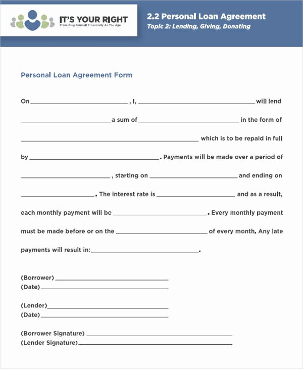 Personal Loan forms Template Elegant 38 Agreement form Samples