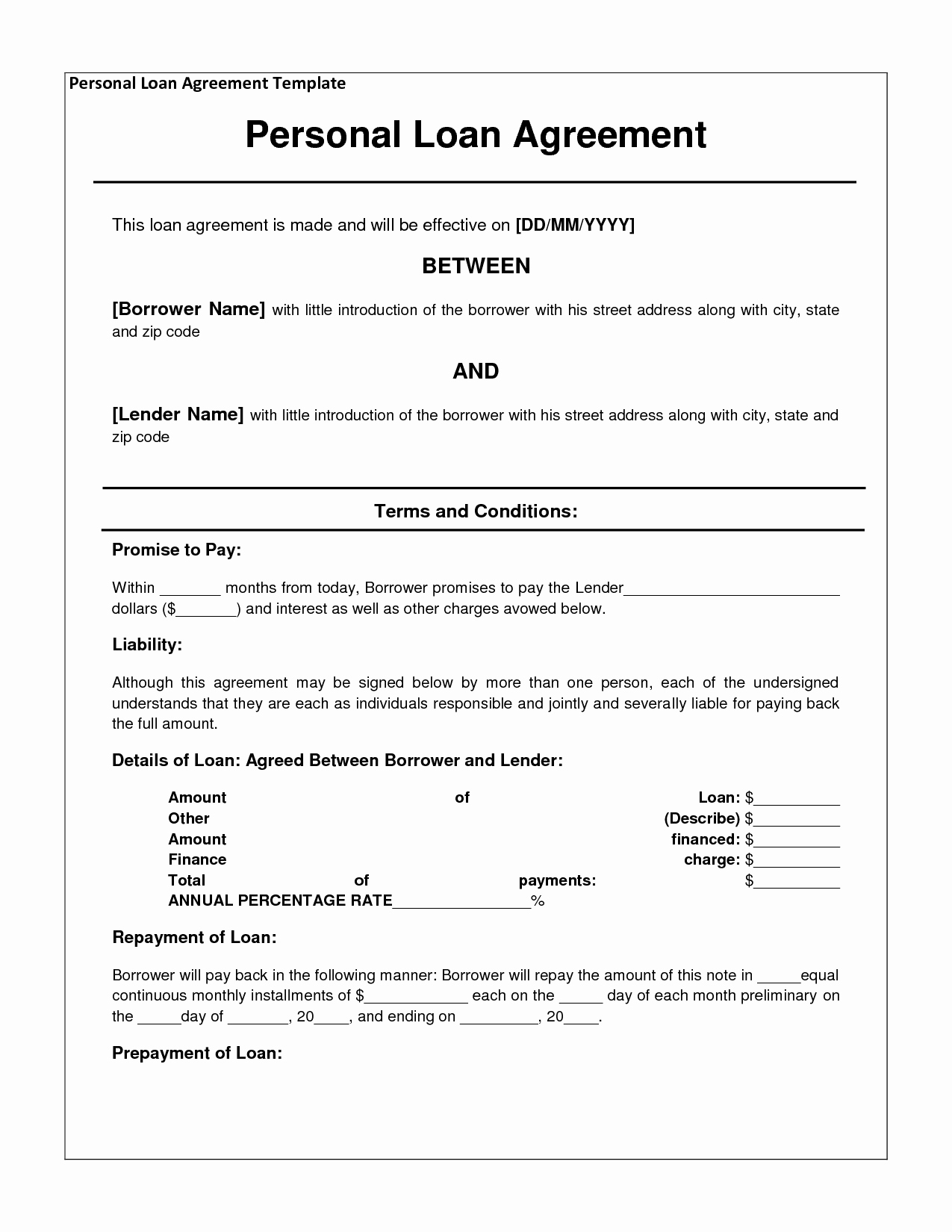 Personal Loan forms Template Inspirational 14 Loan Agreement Templates Excel Pdf formats