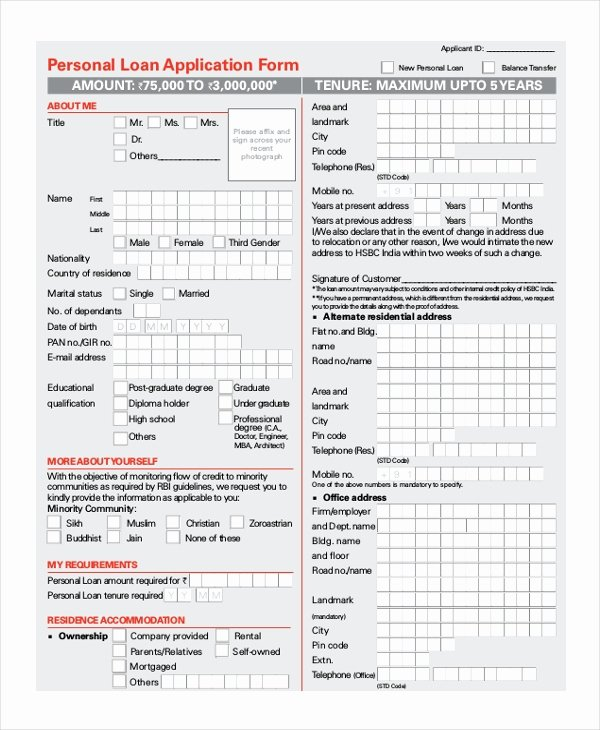 Personal Loan forms Template Inspirational Sample Loan Application form 11 Free Documents In Word Pdf