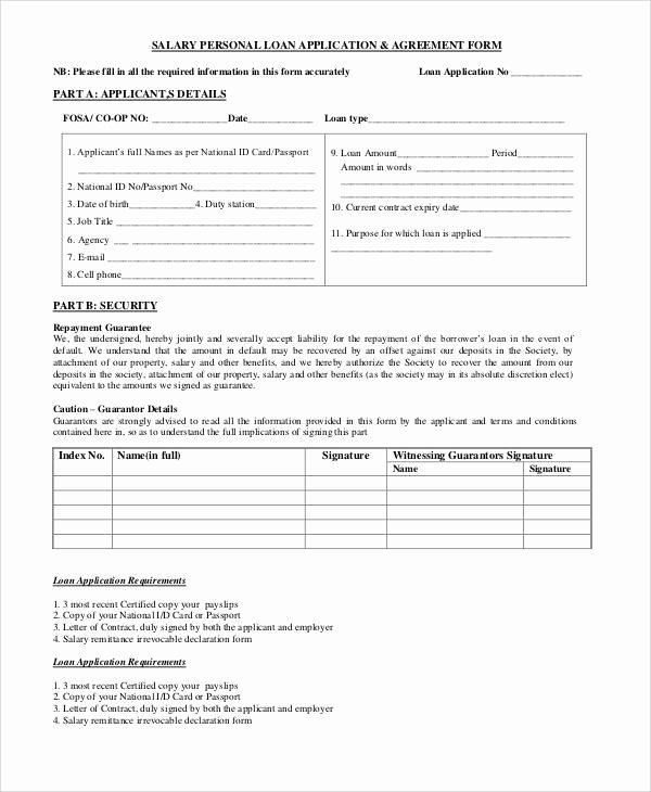 Personal Loan forms Template New Basic Agreement form