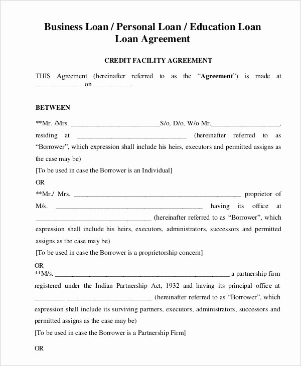 Personal Loan forms Template Unique Loan Agreement Template 21 Free Word Pdf format