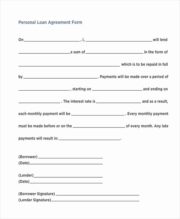 Personal Loan forms Template Unique Personal Loan Agreement Template