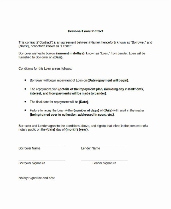 Personal Loan Letter format Elegant 11 Loan Contract Templates Docs Word