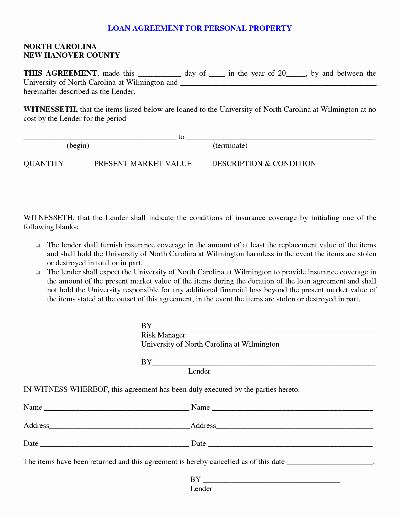 Personal Loan Letter format Unique Free Printable Personal Loan Contract form Generic