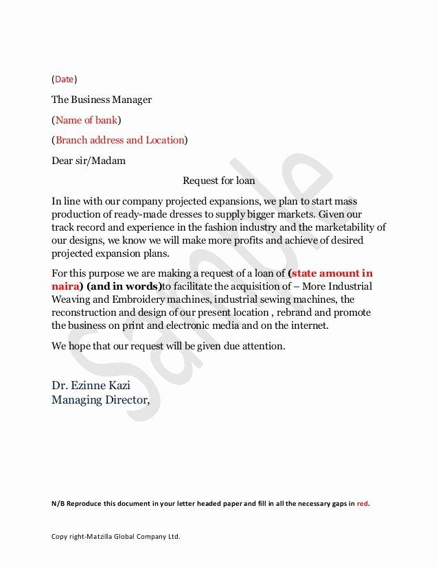 Personal Loan Letter format Unique Sample Loan Application Letter