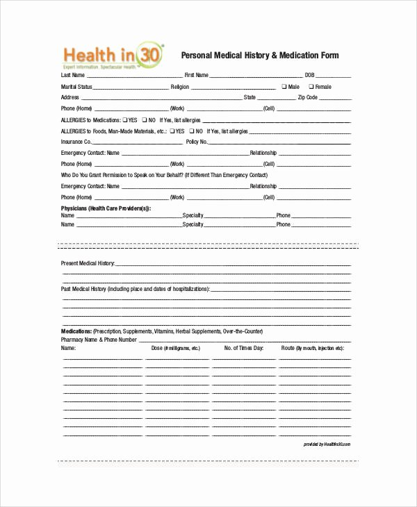 Personal Medical History form Template Beautiful Sample Medical form