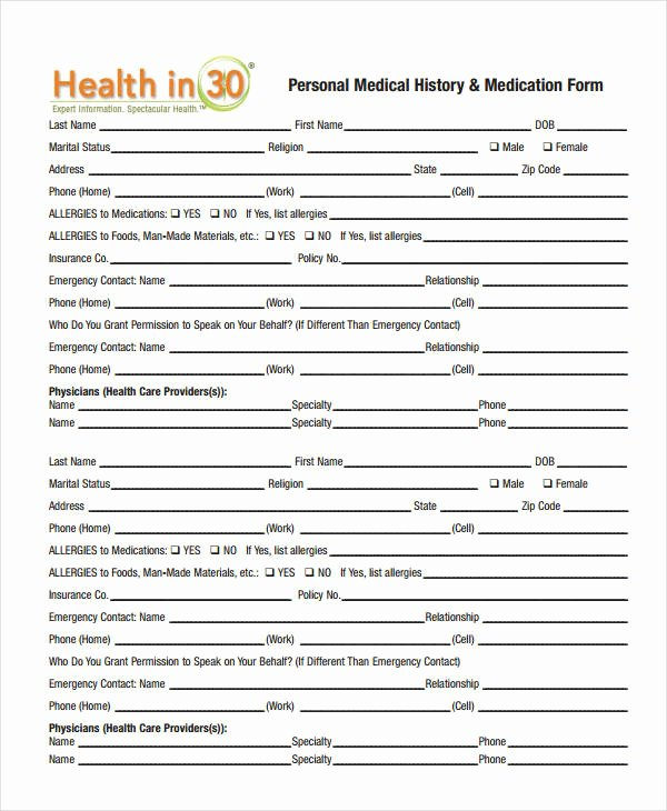 Personal Medical History form Template Best Of Medical History form 9 Free Pdf Documents Download