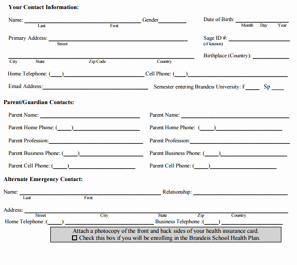 Personal Medical History form Template Fresh 4 Personal Medical Health Record Sheets – Word Templates