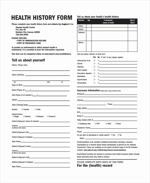 Personal Medical History form Template Luxury 10 Health History Templates