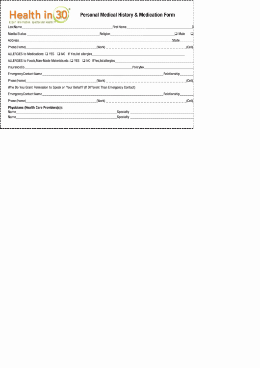 Personal Medical History form Template Luxury Health In 30 Personal Medical History & Medication form