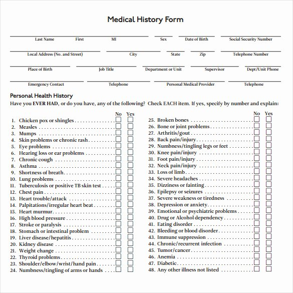 Personal Medical History form Template Unique 8 Medical History forms