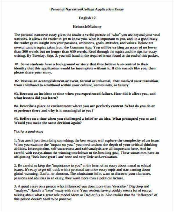 Personal Narrative Examples College Beautiful 8 Sample Narrative Essays