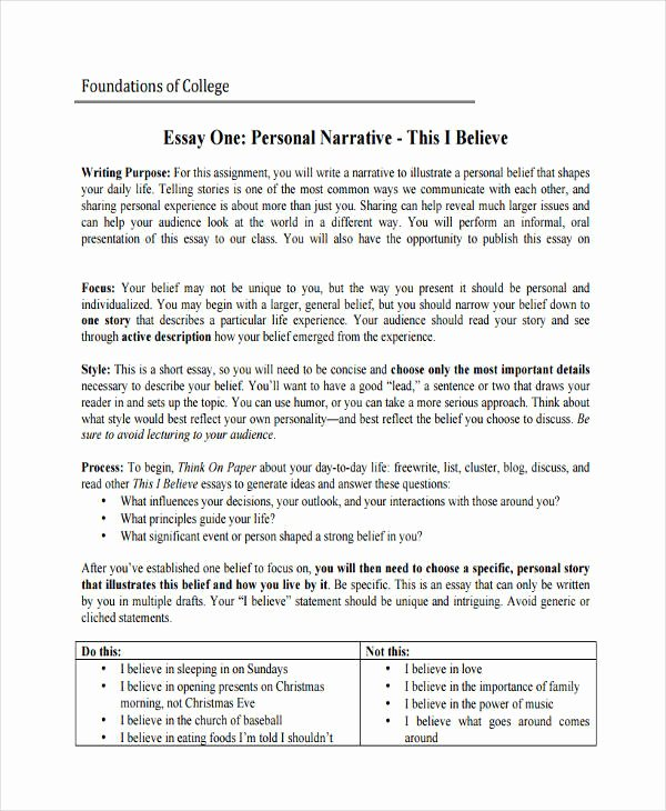 Personal Narrative Examples College Elegant 29 Examples Of College Essays