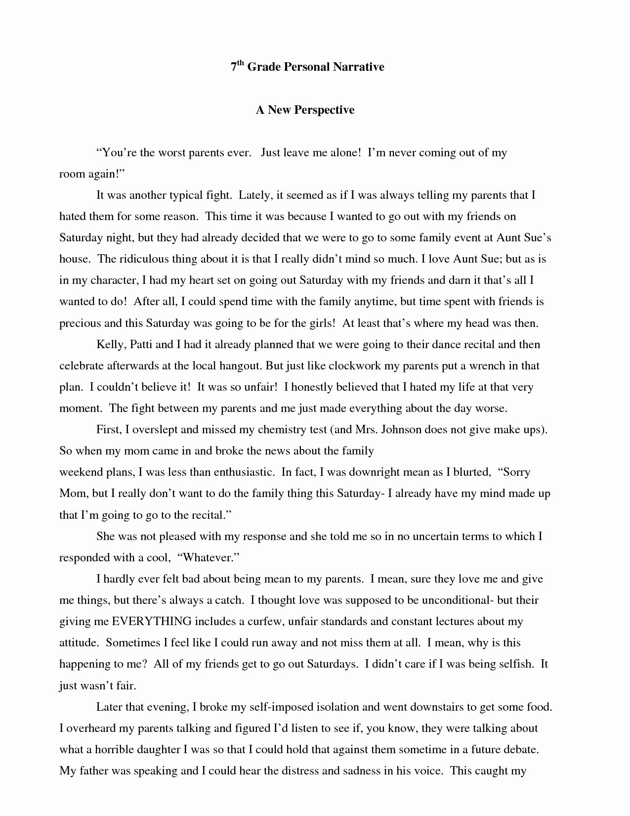 Personal Narrative High School Examples Luxury Narrative Essay Examples with Dialogue