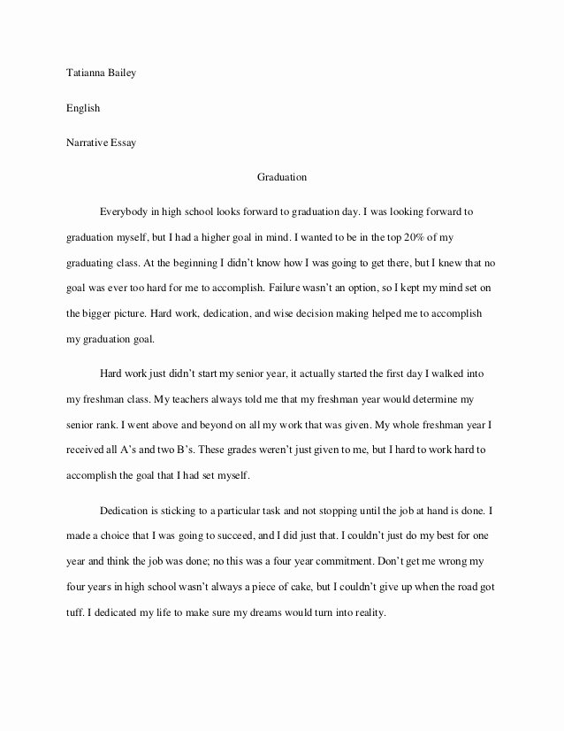 Personal Narrative High School Examples New Graduation Narrative Essay