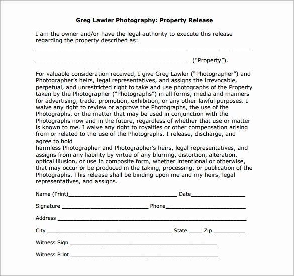 Personal Property Release form Template Elegant Sample Property Release form 14 Download Free Documents